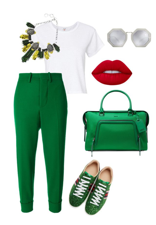 """""""Untitled #399"""" by stylistrr on Polyvore featuring Gucci, RE/DONE, Marni, DKNY, Forest of Chintz, Lime Crime and Karen Walker"""