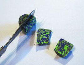 «Мраморная» техника – Сине-зеленый узор - Все о полимерной глине