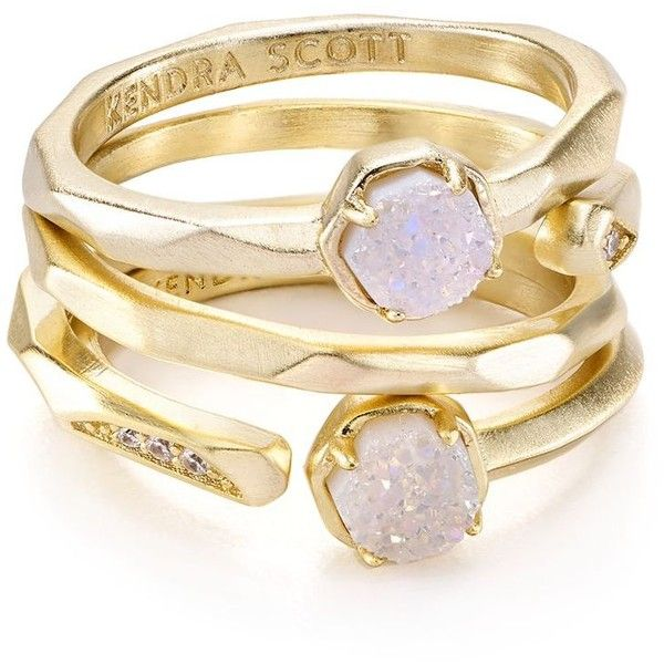 Kendra Scott Warren Rings, Set of 3 ($80) ❤ liked on Polyvore featuring jewelry, rings, kendra scott jewelry, stackers jewelry, triple ring, snap jewelry and agate jewelry