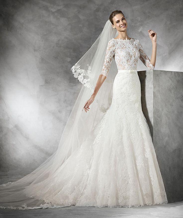 Timy, vestido de novia de encaje con manga larga