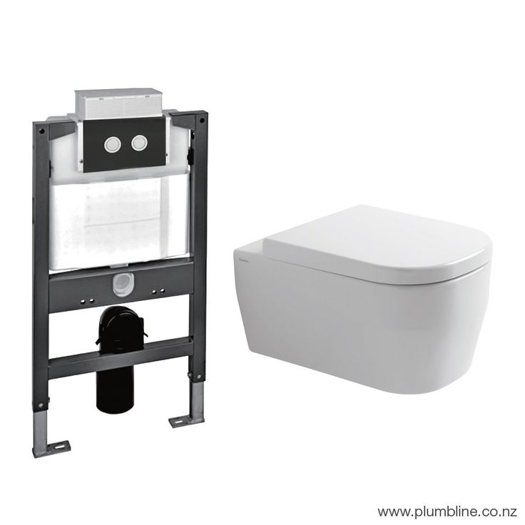 Hero 53 Wall Hung White Toilet Package/Low Height Pneumatic Cistern