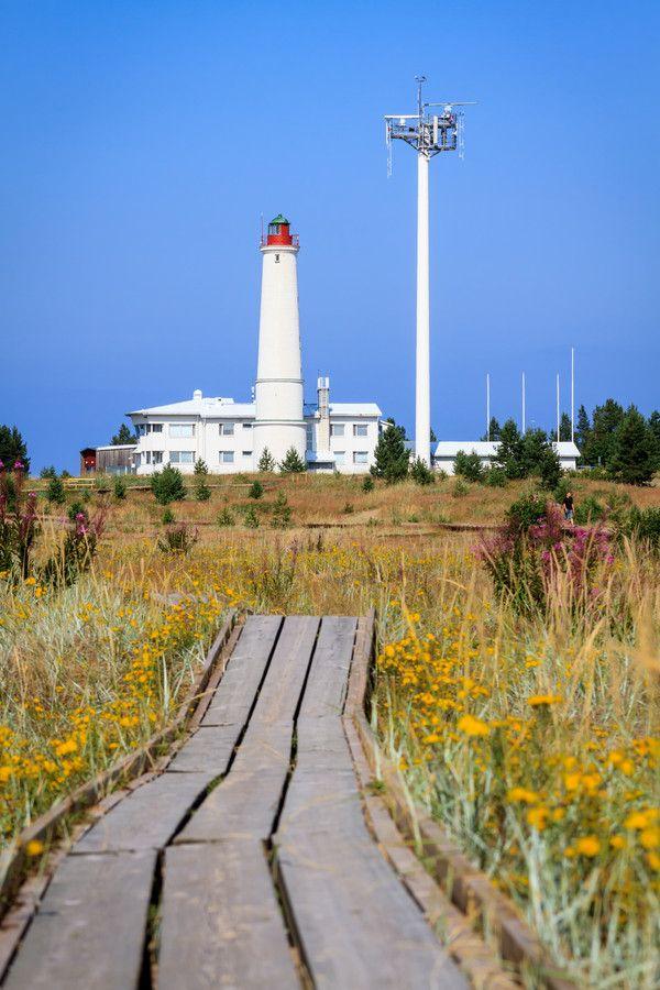 Path to Lighthouse Hailuoto lighthouse on sunny summer day in Marjaniemi, Finland.
