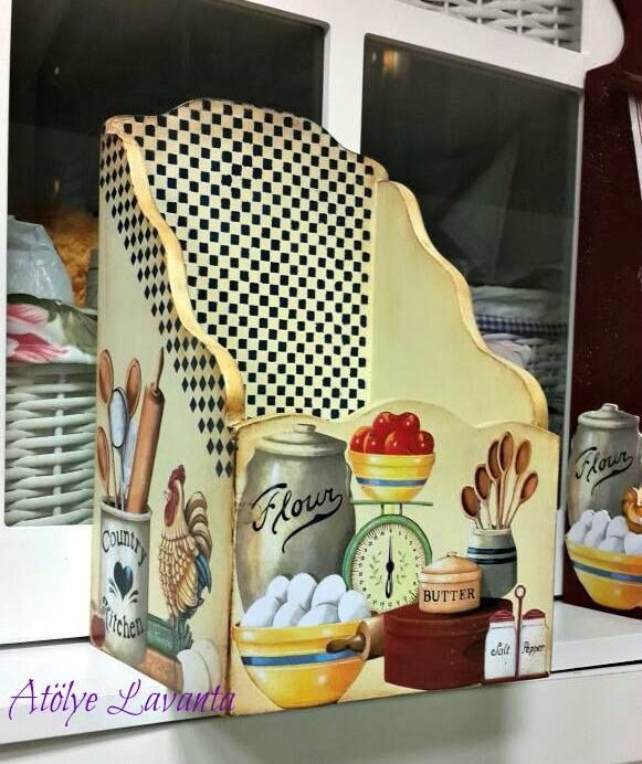 Decoupage kitchen holder for utensils, this and thats, or if large enough, cook books.