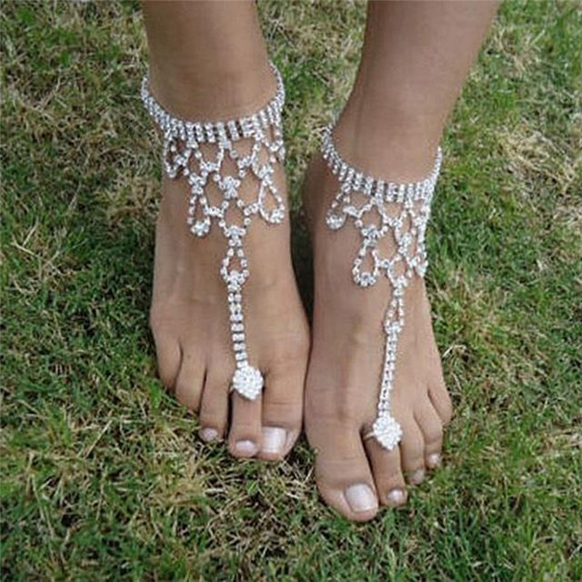 a9777fd4412b 2 Piece White Ankle Bracelet Crochet Anklets Barefoot Sandals Foot Jewelry   fashion  beauty  uk  london  india  model  shop  design  wedding   bollywood ...