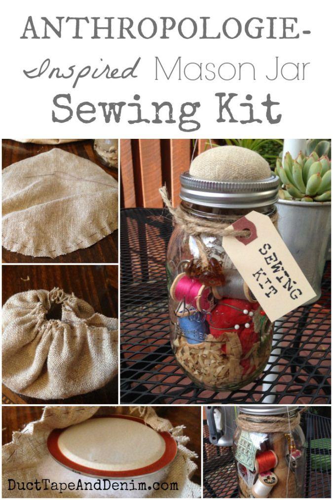 Anthropology Inspired Mason Jar Sewing Kit with