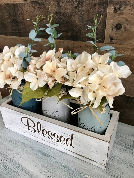 Dining Table Centerpiece Rustic Home Decor Floral Etsy Table Centerpieces For Home Dining Room Table Centerpieces Dining Table Centerpiece