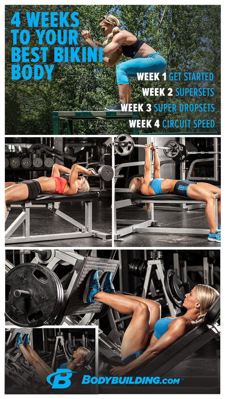Bikini-Body Workout: 4 Weeks To Your Best Body! Whether you're itching for summer or planning a vacation to the beach, you can get your body ready for bikini weather in 4 short weeks with this complete training, nutrition, and supplement guide! Bodybuilding.com