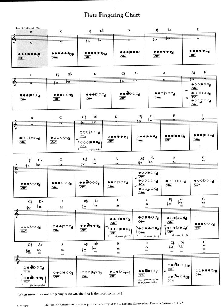 Flute Fingering Chart - from low B to high D I am a musician in
