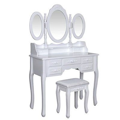 Songmics blanc coiffeuse table de maquillage grand commode for Coiffeuse 3 miroirs