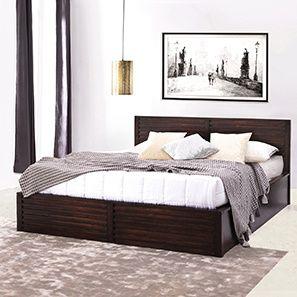 Rille Box Storage Bed (Mahogany Finish, King Bed Size)