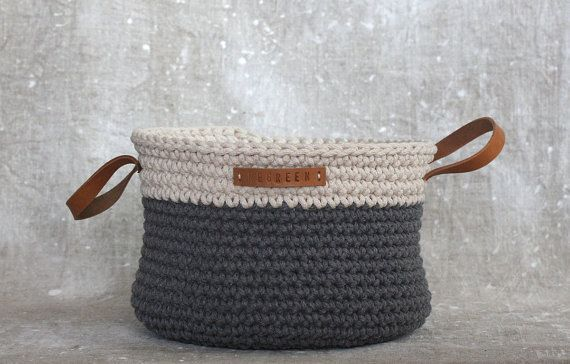 Handmade Crochet  Cotton Basket in cream/ grey by regreenyourlife