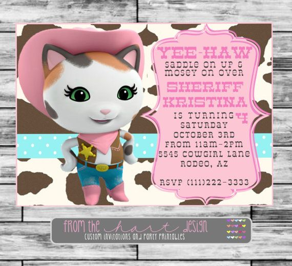 Disney Sheriff Callie's Wild West Birthday Party Invitation, Custom, Personalized, Saddle, Pink, Digital File, Cowgirl, Yee-Haw, on Etsy, $15.00