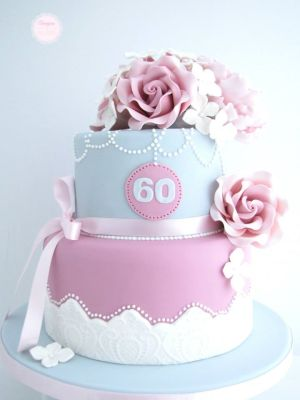 60th Birthday Cake Ideas - Beautiful pink/purple and blue flower tier cake