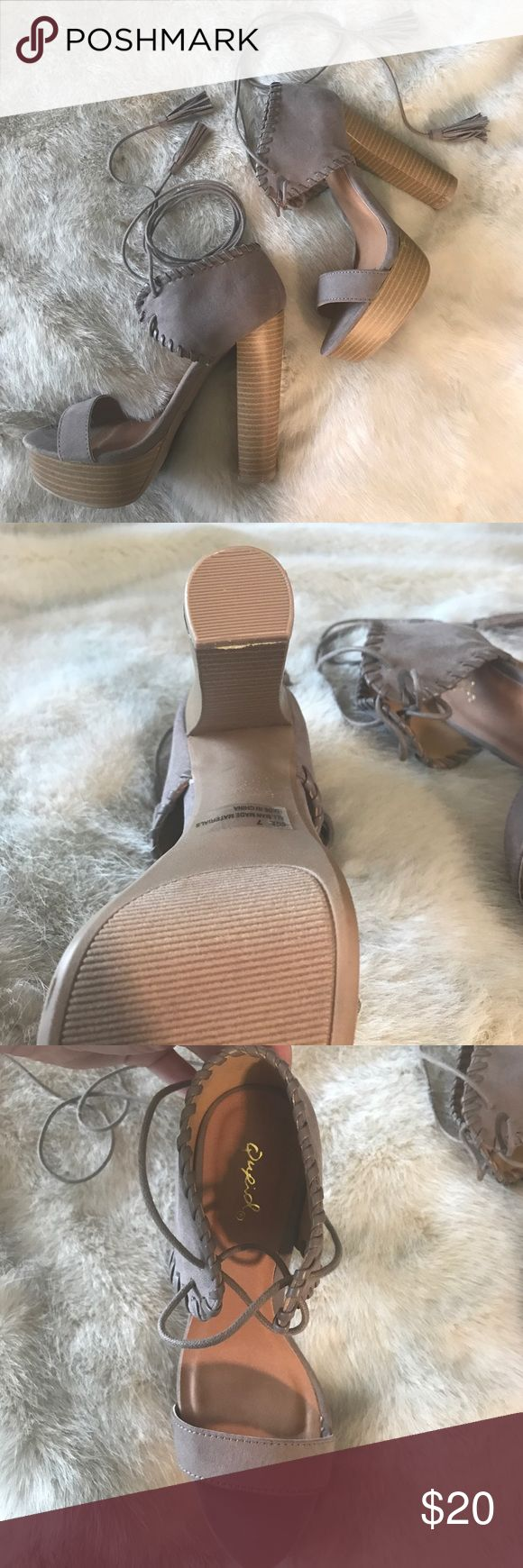 NWOT Platform Ankle Wrap Sandal These shoes are just what you need for the transition into spring! These purple/grey sandals will go with almost anything! Never worn! Nasty Gal Shoes Sandals