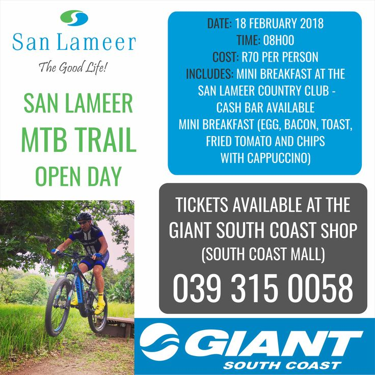Love the outdoors and being active? Then you need to grab your tickets for our MTB Open Day at the San Lameer Estate on Sunday 18 February. Ticket price includes breakfast and a cappuccino and can be purchased from Giant South Coast.
