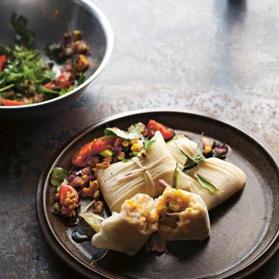 Corn tamales with lime, coriander & red onion salsa | Meat Free Week by simon bryant from the book 'Vegies.' photography by Alan Benson published by Lantern