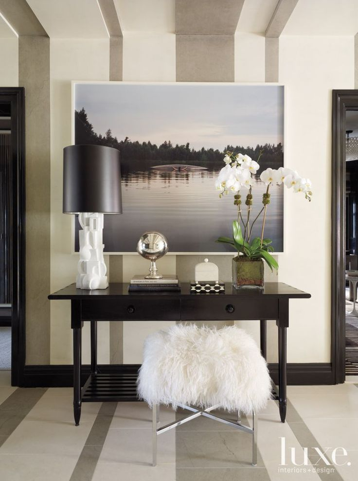Foyer Table Vignettes : Striped wall behind an entryway vignette foyer enticing