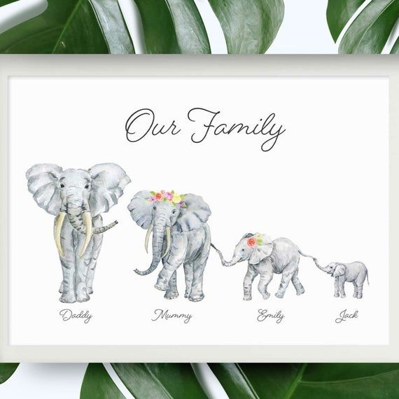 Cute Elephant Personalized Birthday Selfie Frame Poster