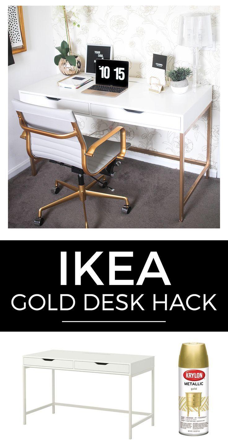 Wie man einen weißen und goldenen Schreibtisch für weniger als 200 Dollar von Ikea in fünf einfachen, einfachen