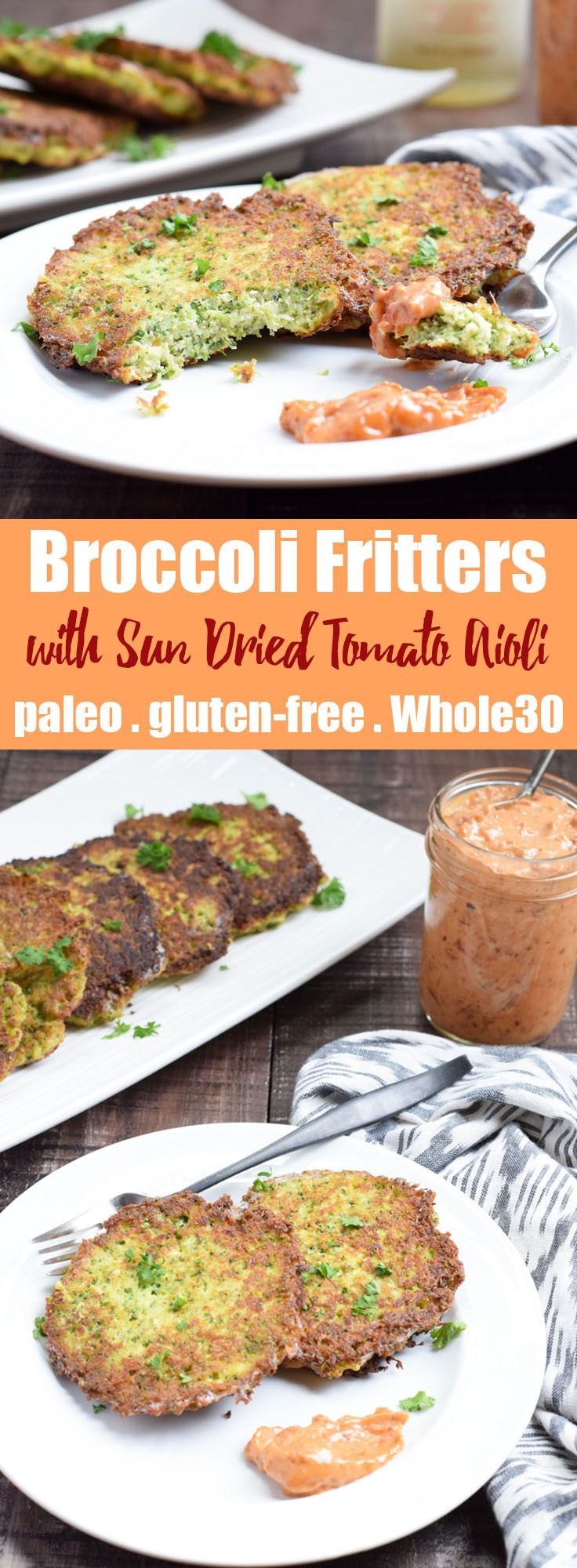 Broccoli Fritters with Sun Dried Tomato Aioli from Living Loving Paleo! | paleo, gluten-free, Whole30 friendly and 21dsd | These broccoli fritters are SO delicious, plus I'm showing you in a quick video just how easy they are to make!