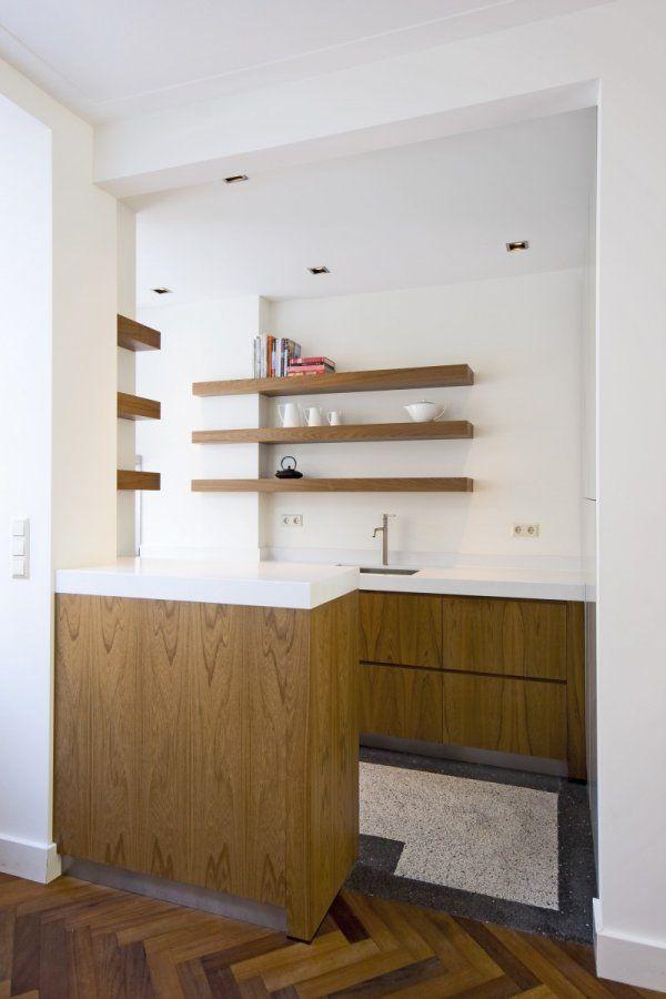 planken en vloer idee, + overgang vloer idee + visgraat + idee voor afscheiding keuken tafel