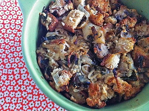 Gluten-Free Stuffing using Udi's bread. Haven't cooked with Udi's bread before. Looks fantastic.