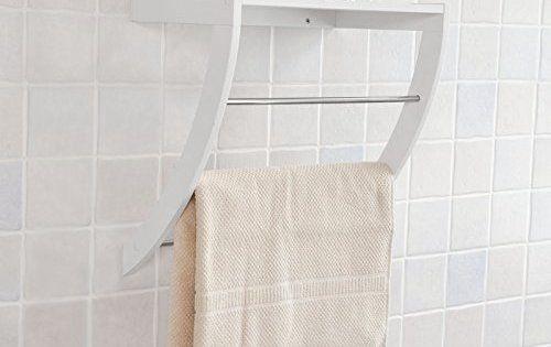 SoBuy® FRG47-W Porte-serviettes mural avec 1 tablette et 3 barres en Inox salle de bain toilettes, étagère murale blanche: Avec la Facture.…