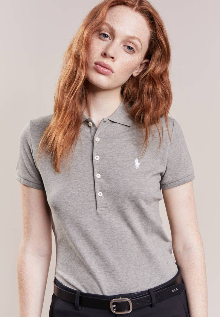 """Polo Ralph Lauren. JULIE SKINNY FIT - Polo shirt - olive. Fit:regular. Outer fabric material:97% cotton, 3% spandex. Our model's height:Our model is 69.5 """" tall and is wearing size S. Pattern:marl. Care instructions:machine wash at 30°C. Length:normal. Sl..."""