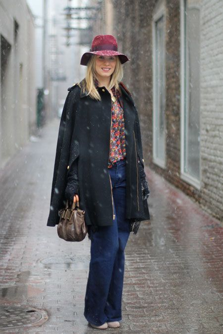 Erin Brennan of StyleBlock showed up to our shoot in a vintage cape that renewed our faith in outerwear. We love that she's illustrating our point about cool winter hats, too.    Photographed by Amy Creyer
