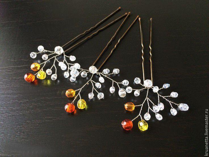 """Купить Шпильки """"Золотая осень"""" - желтый, оранжевый, осеннее украшение, свадьба осенью, невесте, невеста"""