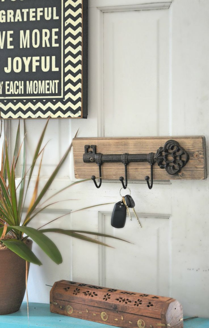 Wall Key Holder  - Rustic Key Holder for the wall, Wall Keychain by ReviveAllHomeGoods on Etsy https://www.etsy.com/listing/246677150/wall-key-holder-rustic-key-holder-for