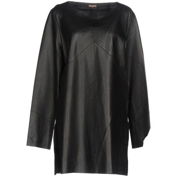 Malìparmi Blouse ($315) ❤ liked on Polyvore featuring tops, blouses, black, v neck blouse, v-neck tops, long sleeve tops, long sleeve leather top and leather blouse