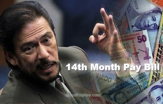 The senate majority leader Vicente 'Tito' Sotto III has been filed a new bill that requiring those private companies to give their employees 14th month pay aside from the regular 13th month pay every year.