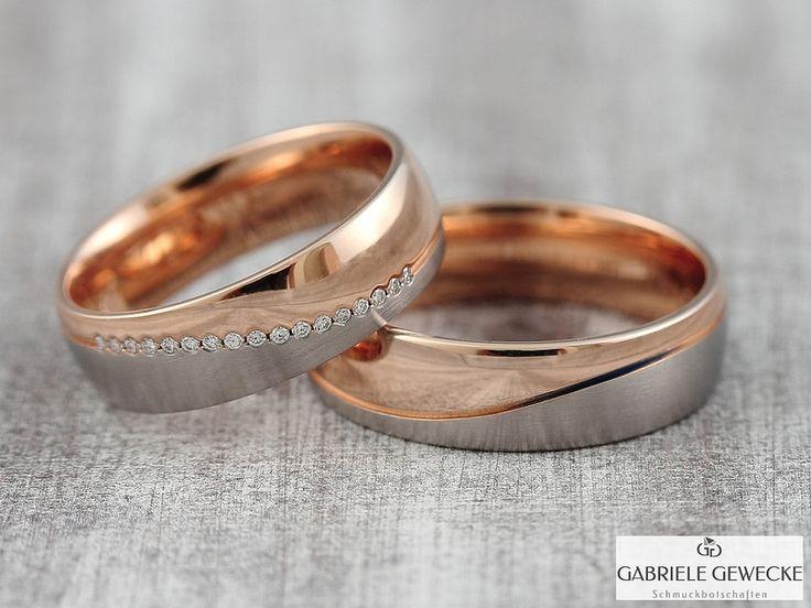Eheringe - BiColor Eheringe mit Diamant 6mm, 585 Gold, 3341  - ein Designerstück von Schmuckbotschaften bei DaWanda