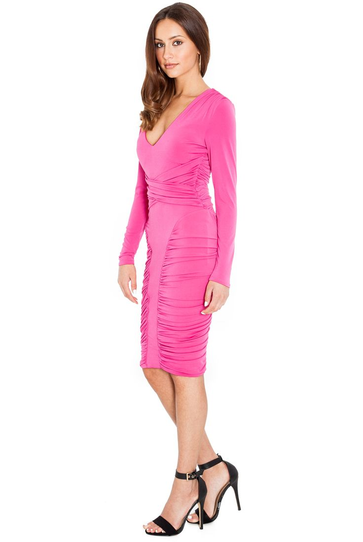 RUCHED DETAIL FULL SLEEVE JERSEY DRESS #casualdress #mididress #citygoddess #citygoddesswholesale #wholesale #dress #fashion