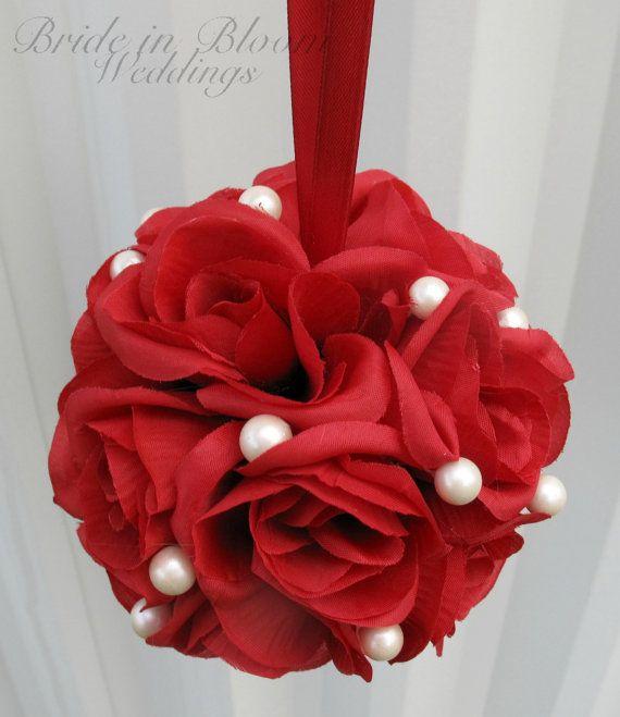 Wedding flower balls pomander red white by BrideinBloomWeddings