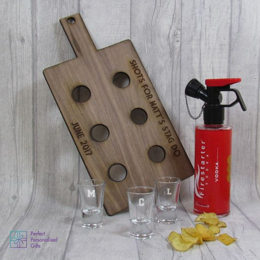 Shot Paddle Board & Shot Glasses. Looking for a unique gift for an upcoming party? This gift is the one for you. With a personalised paddle board, initial shot glasses and the option of adding Firestarter Vodka, what is not to love? You can personalise the board & shot glasses. Six shot glasses not enough? You can add additional shot glasses to your order. If you want these personalising also, please contact us on sales@perfectersonalisedgifts.com with your order number and the…