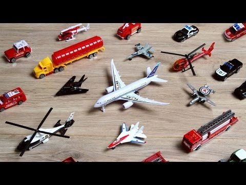 Learning Planes and Fighter Jet for Kids - Police Car Fire Truck Toys Tomica Collection - YouTube