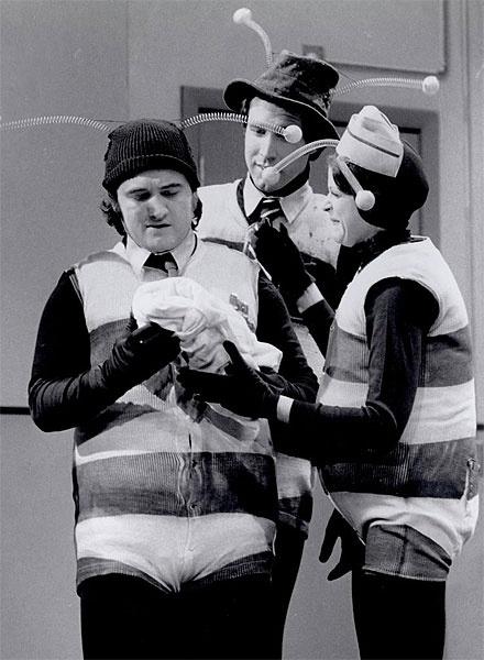 "The original cast of Saturday Night Live as ""The Killer Bees."" John Belushi, Chevy Chase & Gilda Radner"