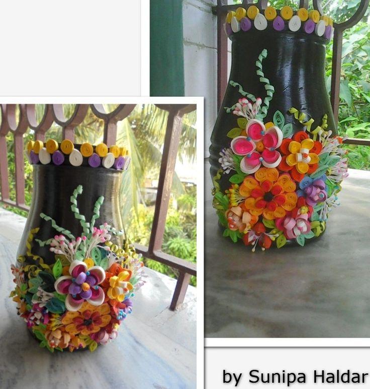 paper quilled design on vase