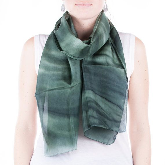 Hand painted Green silk scarf /  green waves  /  by CeliaEtcetera