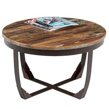 Industrial Coffee Table - Recycled Wood - Milan Direct