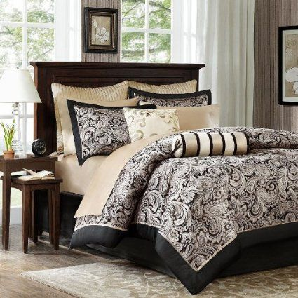 Amazon.com - Aubrey 12 Piece Comforter Set Size: Full / Queen, Color: Black/Silver - Madison Park Aubrey