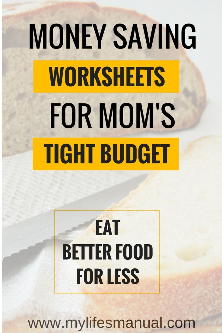 Money saving worksheets for mom's tight budget - Eat better food for less