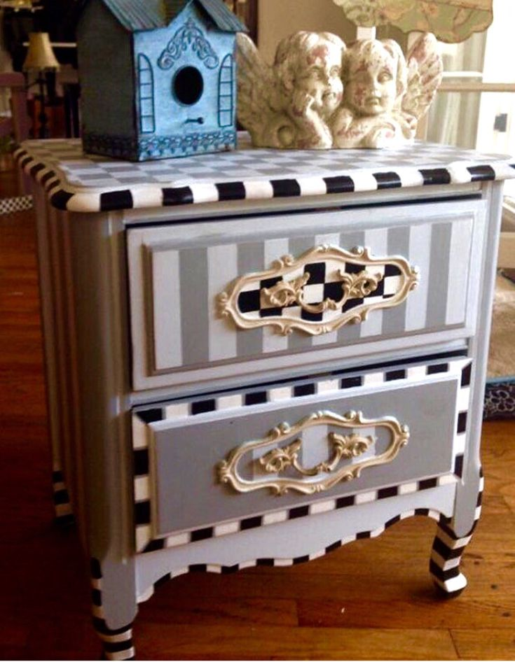 Vintage Mackenzie Childs inspired bedside table .dove gray, white and black and…