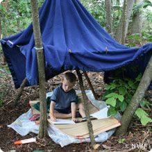 Don't have the skills or time to make a tree house?  How about an outdoor fort? Easy for anyone to build.