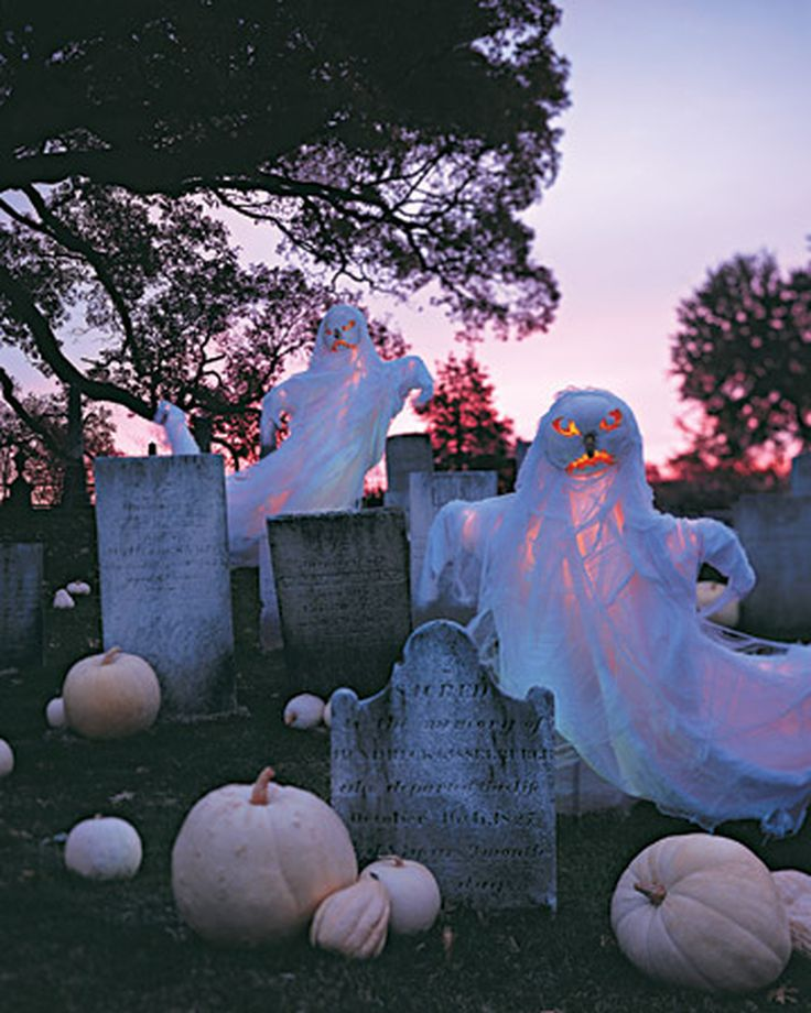 Clearly, white can provoke fright. With the help of some tattered cloth, 'Lumina' pumpkins are easily transformed into fearsome ghosts that arise from an ancient graveyard on All Hallows' Eve.