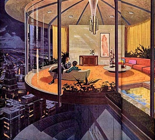 mid century artists impression. I really like the hand coloured designs of the past rather than the very clever computor renderings of today
