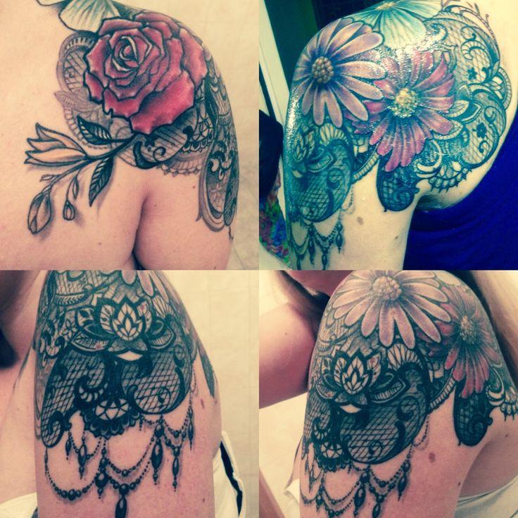 Lace & Flower tattoo