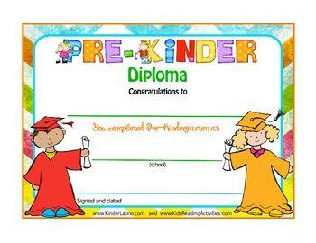 pre k and kinder diplomas free kiddos pinterest english
